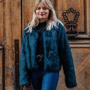 NWOT Free People dark green fur coat